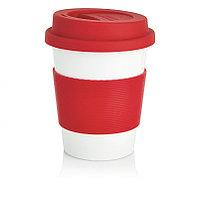 Стакан с крышкой PLA, 350 мл, красный, красный; белый, , высота 12,3 см., диаметр 9,5 см., P432.884