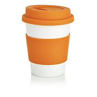 Стакан с крышкой PLA, 350 мл, оранжевый, оранжевый; белый, , высота 12,3 см., диаметр 9,5 см., P432.888