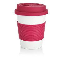 Стакан с крышкой PLA, 350 мл, розовый, розовый; белый, , высота 12,3 см., диаметр 9,5 см., P432.889