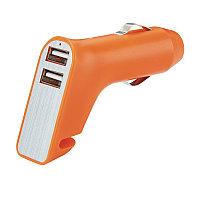 Зарядное устройство для автомобиля 3 в 1, оранжевый; серебряный, Длина 5,1 см., ширина 2,3 см., высота 6,8, фото 1