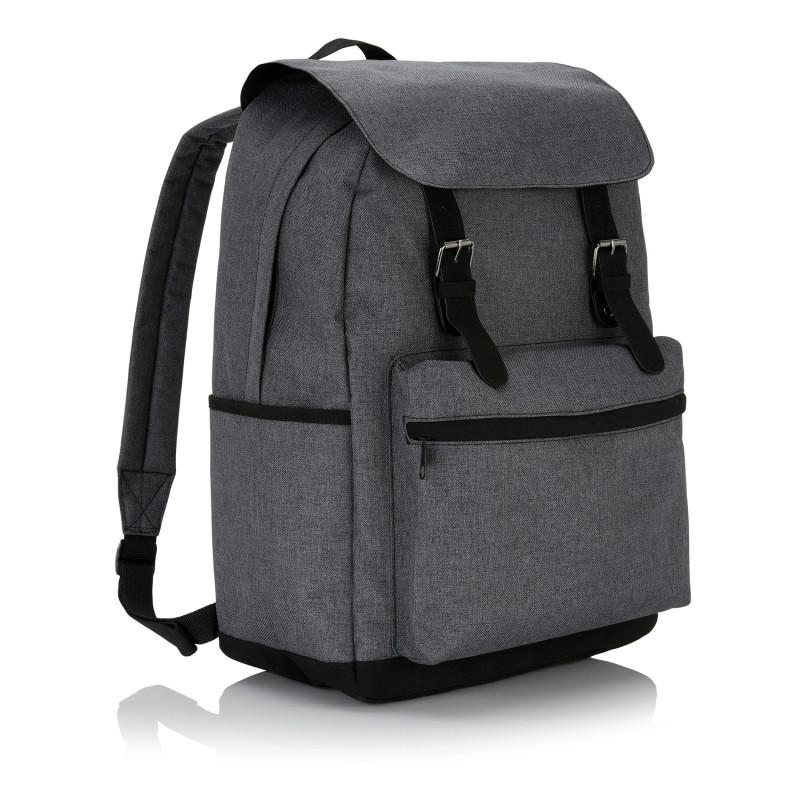 Стильный рюкзак для ноутбука с застежками на кнопках, серый, Длина 43 см., ширина 15,5 см., высота 30 см.,