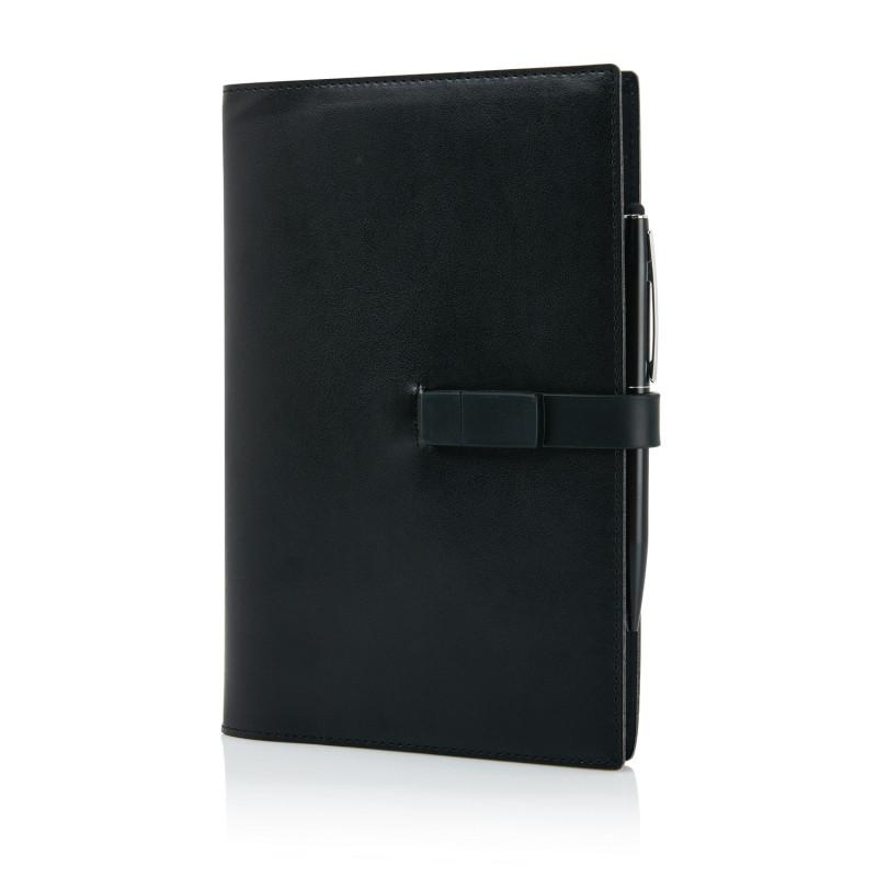 Блокнот для записей Executive с флешкой на 8 ГБ и ручкой-стилусом, черный, Длина 4 см., ширина 25 см., высота
