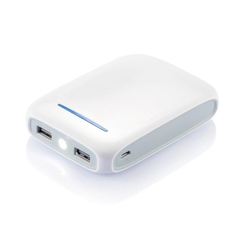 Зарядное устройство, 10 000 mAh, белый; синий, Длина 2,2 см., ширина 7,5 см., высота 10,8 см., P324.223