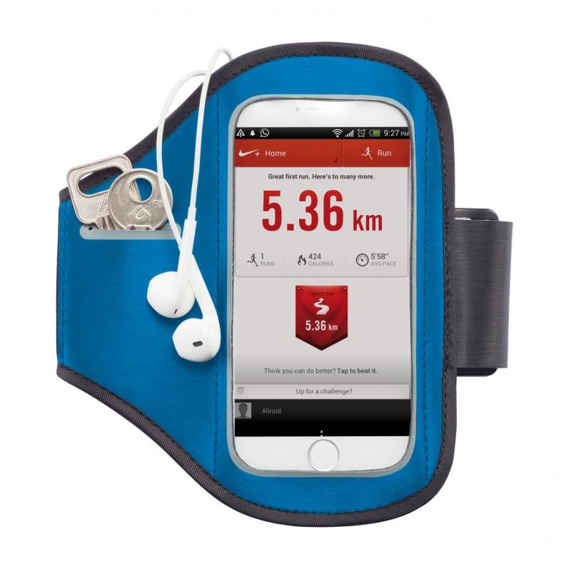 Спортивный чехол для телефона на руку, синий; черный, Длина 16 см., ширина 0,2 см., высота 15,5 см., P320.195