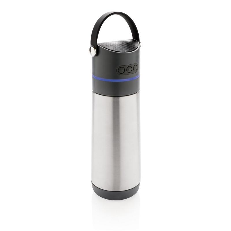 Металлическая бутылка Party, 3 в 1, с беспроводной колонкой, серый; темно-серый, , высота 24 см., диаметр 8