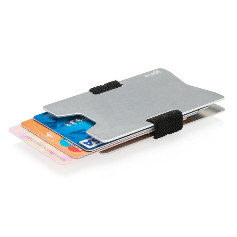 Алюминиевый чехол для карт с защитой от сканирования RFID, серебряный; черный, , ширина 5,8 см., высота 8,8
