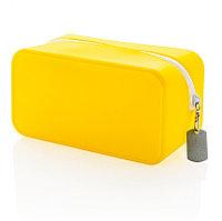 Непромокаемая силиконовая косметичка, желтая, желтый; белый, Длина 19,4 см., ширина 10,2 см., высота 10 см.,