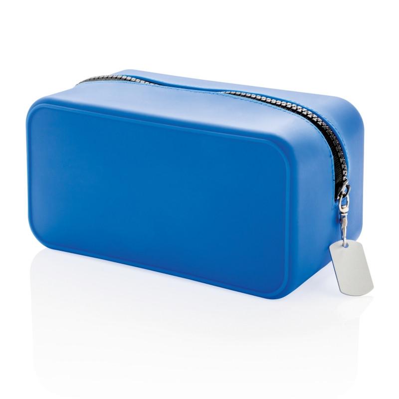 Непромокаемая силиконовая косметичка, синяя, синий; черный, Длина 19,4 см., ширина 10,2 см., высота 10 см.,