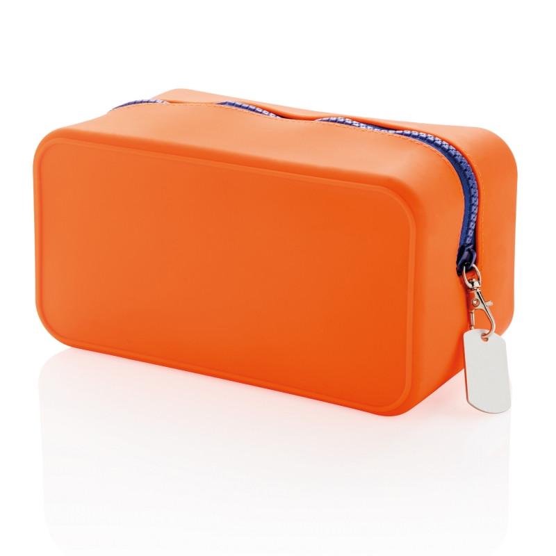 Непромокаемая силиконовая косметичка, оранжевая, оранжевый; темно-синий, Длина 19,4 см., ширина 10,2 см.,