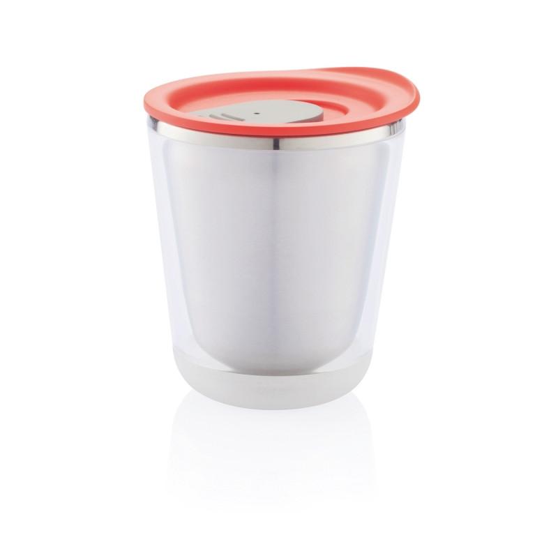 Компактная термокружка Dia, 227 мл, красный; серый, , высота 10,2 см., диаметр 8,5 см., P432.024