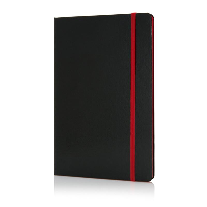 Блокнот на резинке с цветным срезом, А5, красный; черный, Длина 1,5 см., ширина 14,2 см., высота 21,3 см.,