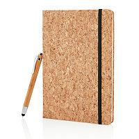 Блокнот Cork на резинке с бамбуковой ручкой-стилус, А5, коричневый, Длина 21,3 см., ширина 14,2 см., высота