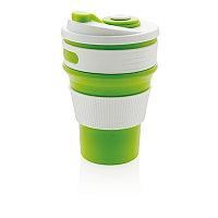 Складная силиконовая термокружка, зеленая, зеленый, , высота 14 см., диаметр 8,7 см., P432.607, фото 1