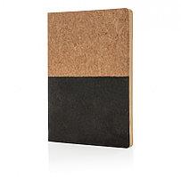 Блокнот в пробковой обложке, черный, черный, Длина 20 см., ширина 14 см., высота 1 см., P773.921