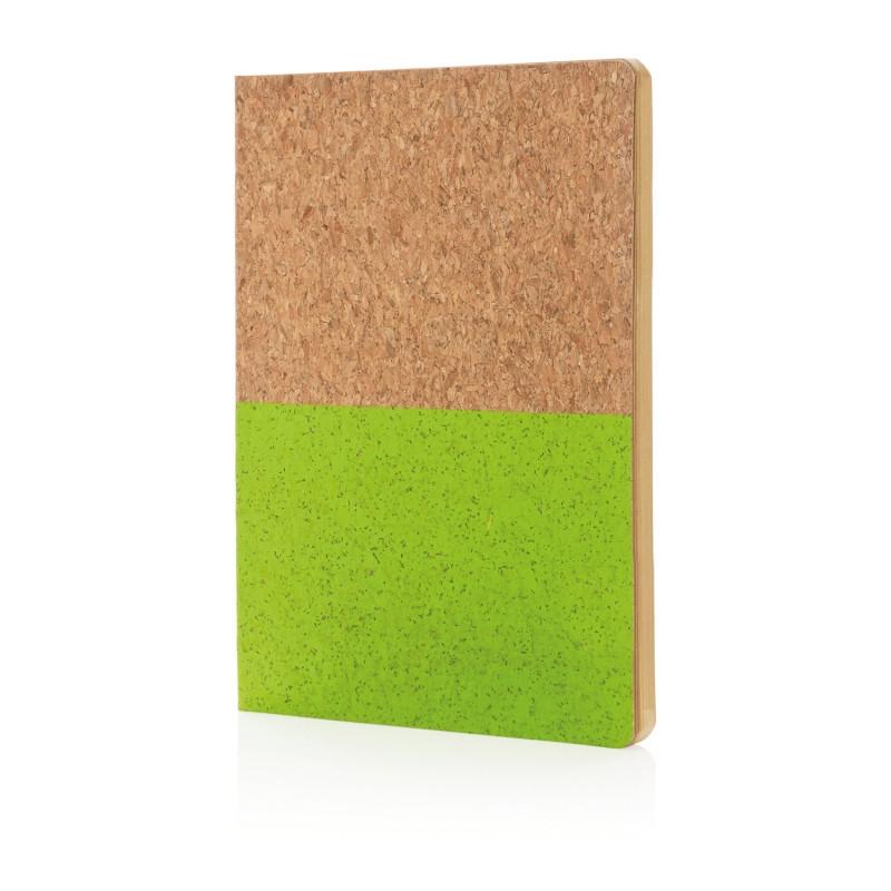 Блокнот в пробковой обложке, зеленый, зеленый, Длина 20 см., ширина 14 см., высота 1 см., P773.927