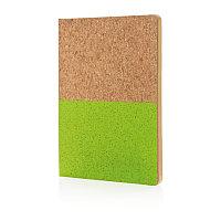 Блокнот в пробковой обложке, зеленый, зеленый, Длина 20 см., ширина 14 см., высота 1 см., P773.927, фото 1