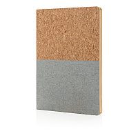 Блокнот в пробковой обложке, серый, белый, Длина 20 см., ширина 14 см., высота 1 см., P773.922