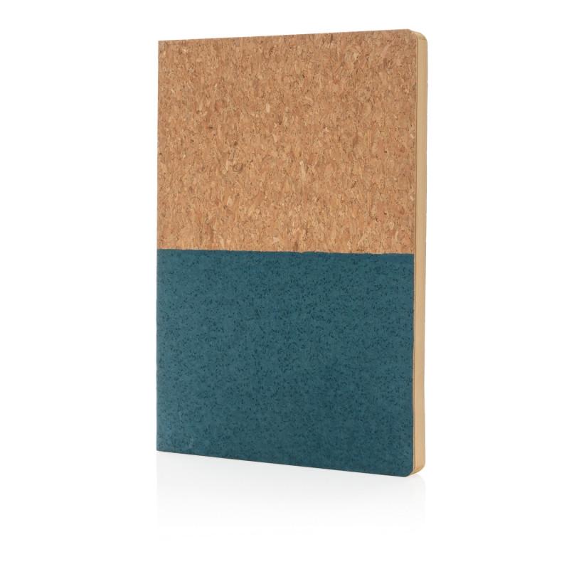 Блокнот в пробковой обложке, синий, синий, Длина 20 см., ширина 14 см., высота 1 см., P773.925