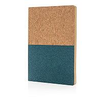Блокнот в пробковой обложке, синий, синий, Длина 20 см., ширина 14 см., высота 1 см., P773.925, фото 1