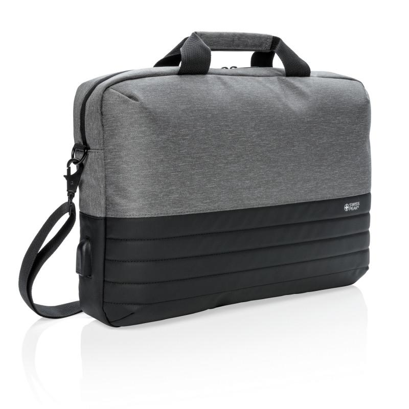 Сумка для ноутбука Swiss Peak с RFID-защитой, серый; черный, Длина 45 см., ширина 8 см., высота 29 см.,