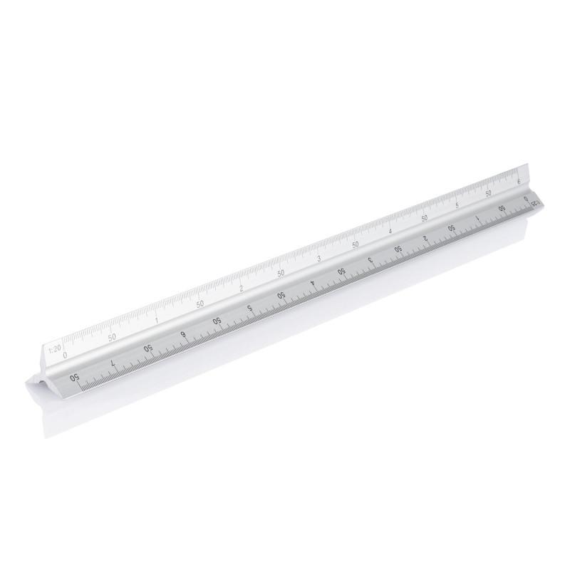 Трехгранная масштабная линейка, 30 см, серебряный, Длина 32 см., ширина 2 см., высота 2 см., P165.132