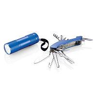 Набор Quatro: мультитул и фонарик, синий, синий, Длина 12,5 см., ширина 9,5 см., высота 3,5 см., P221.195