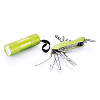 Набор Quatro: мультитул и фонарик, зеленый, зеленый, Длина 12,5 см., ширина 9,5 см., высота 3,5 см., P221.197