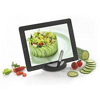 Подставка для планшета Chef со стилусом, черный; серебряный, , высота 3 см., диаметр 12 см., P261.171