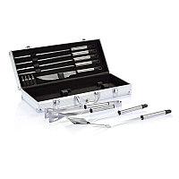 Набор для барбекю в алюминиевом кейсе, 12 предметов, серебряный; черный, Длина 20,8 см., ширина 8 см., высота