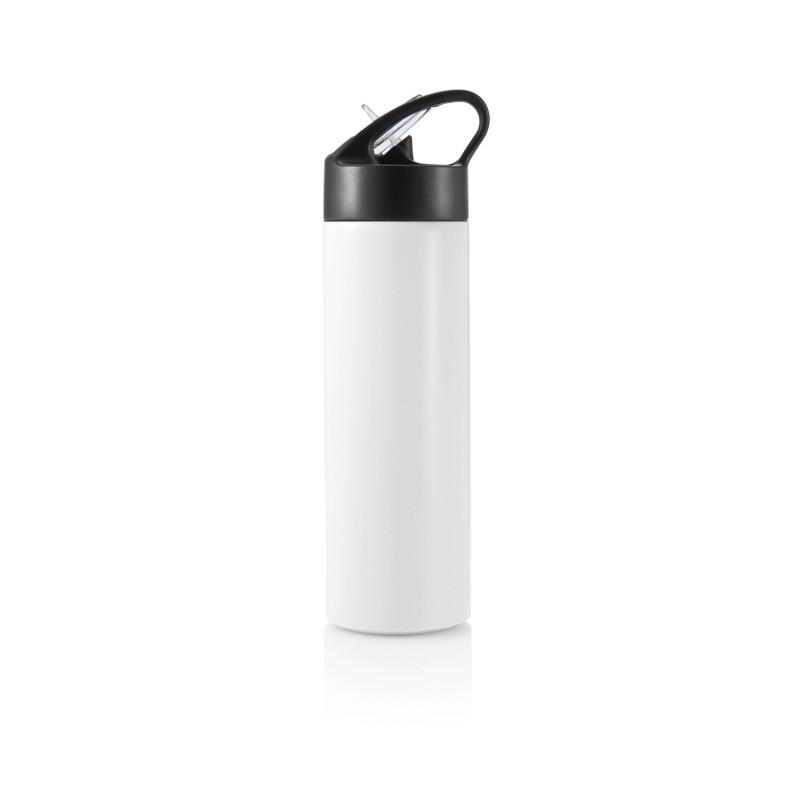 Спортивная бутылка для воды с трубочкой, 500 мл, белый, белый, , высота 22,5 см., диаметр 6 см., P433.163