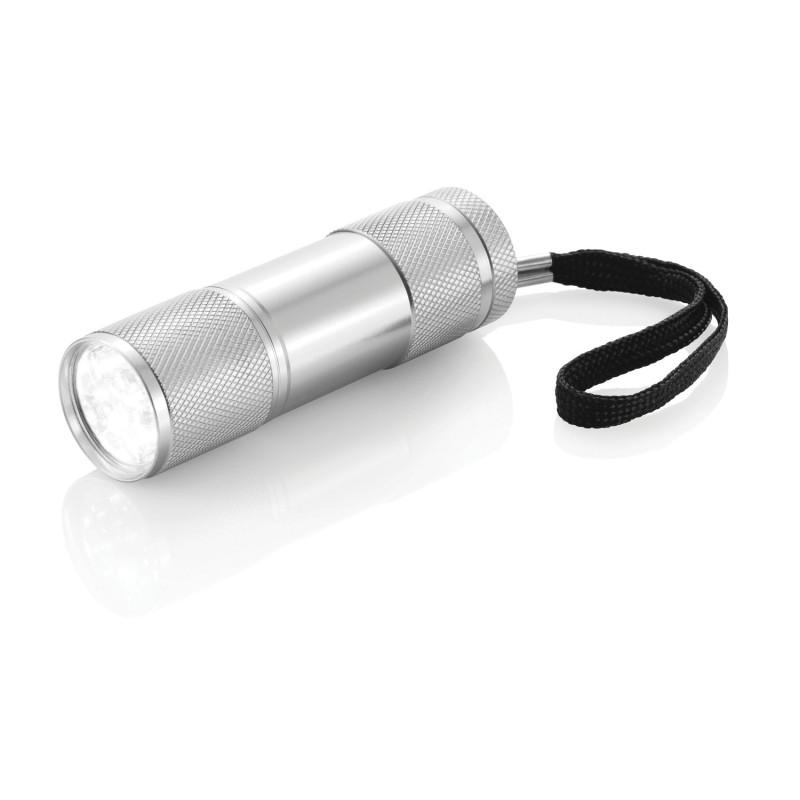 Алюминиевый фонарик Quattro, серебряный, серебряный, Длина 2,5 см., высота 9 см., диаметр 2,6 см., P513.270