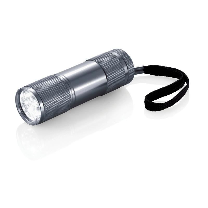 Алюминиевый фонарик Quattro, серый, серый, Длина 2,5 см., высота 9 см., диаметр 2,6 см., P513.272
