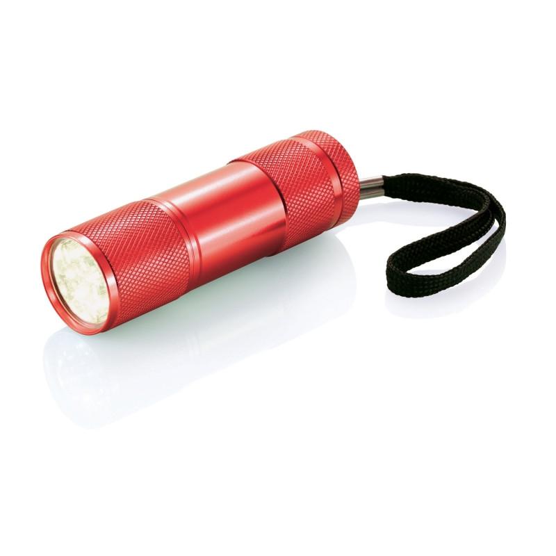 Алюминиевый фонарик Quattro, красный, красный, Длина 2,5 см., высота 9 см., диаметр 2,6 см., P513.274