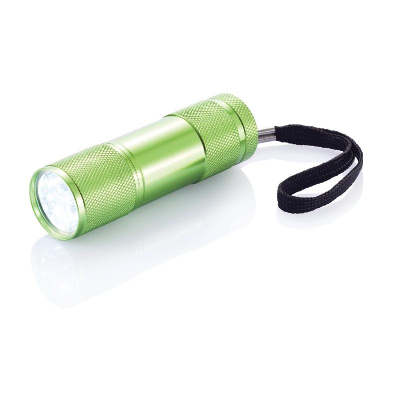 Алюминиевый фонарик Quattro, зеленый, зеленый, Длина 2,5 см., высота 9 см., диаметр 2,6 см., P513.277