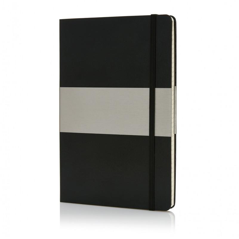 Блокнот в твердой обложке формата A5, в клетку, черный, Длина 21,3 см., ширина 14,2 см., высота 1,5 см.,