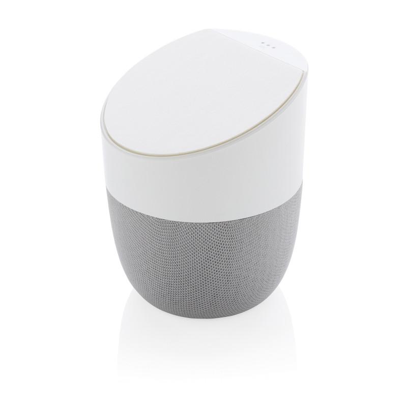 Колонка с беспроводным зарядным устройством Home, белая, белый; серебряный, , высота 10,8 см., диаметр 9 см.,