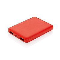 Карманный внешний аккумулятор на 5 000 мАч, красный, Длина 8,8 см., ширина 6,2 см., высота 1,3 см., P324.764