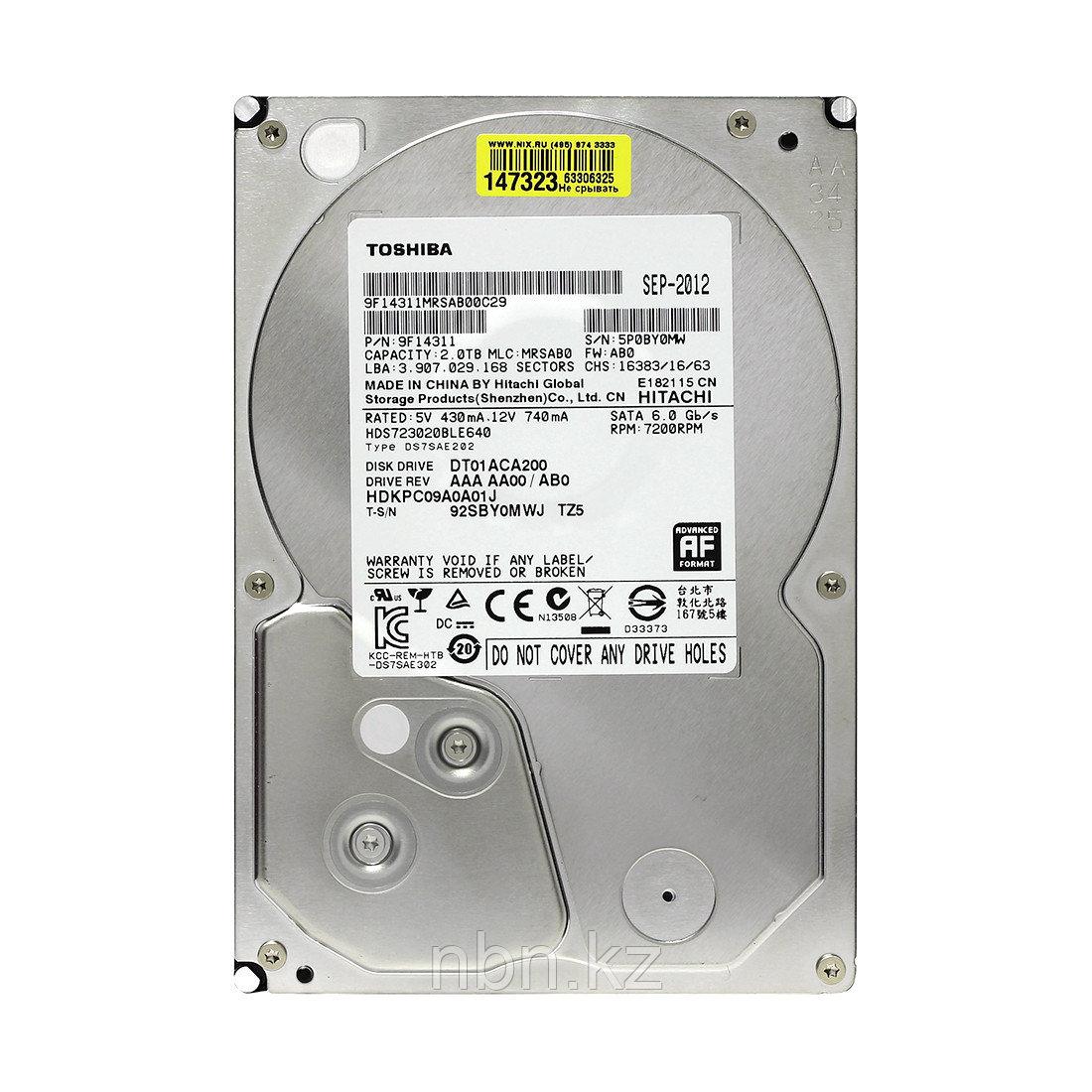 "Жёсткий диск HDD 2Tb Toshiba SATA6Gb/s 7200rpm 64Mb 3,5"" DT01ACA200"