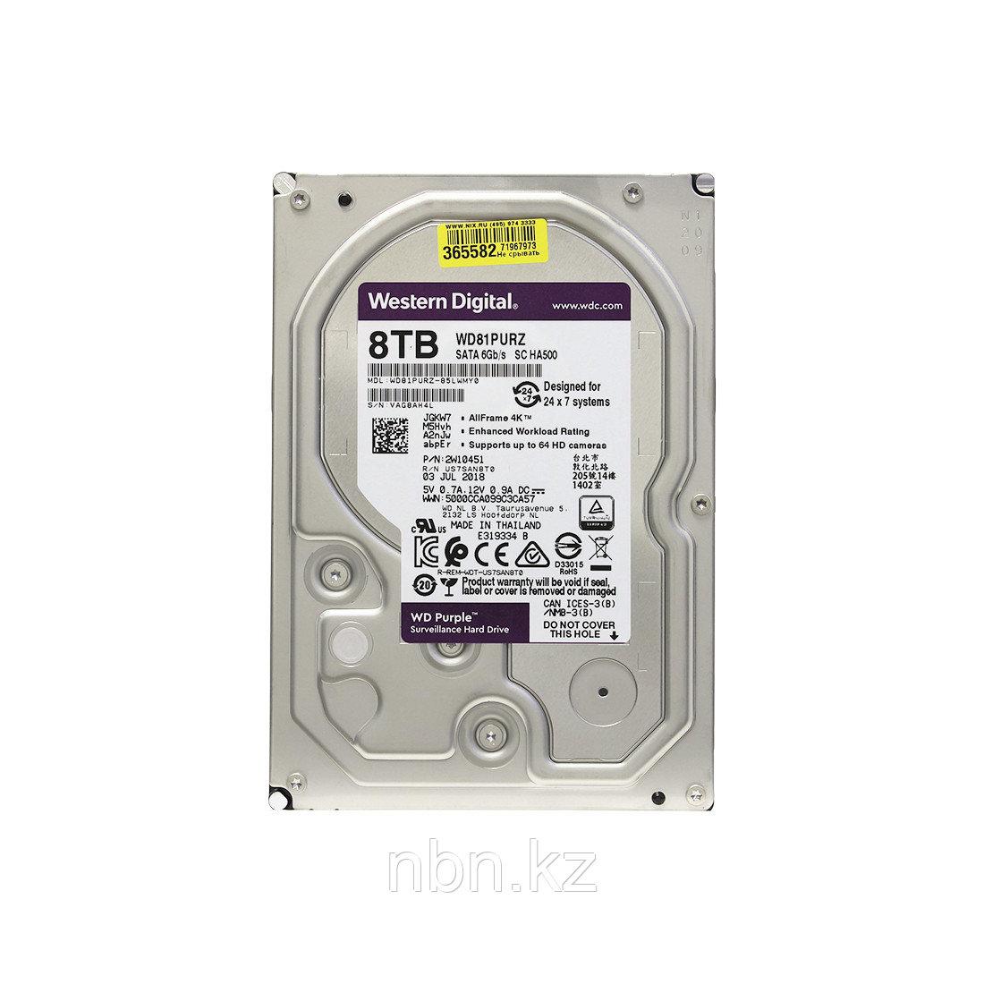 Жёсткий диск для видеонаблюдения Western Digital Purple HDD 8Tb WD81PURZ