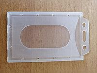 Бейдж вертикальный, пластиковый, твердый 90*58 мм без ремешка