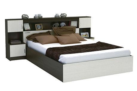 Кровать двуспальная Бася, Венге Анкор светлый, Стендмебель (Россия), фото 2