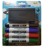 Маркеры для маркерной доски, губка  в наборе