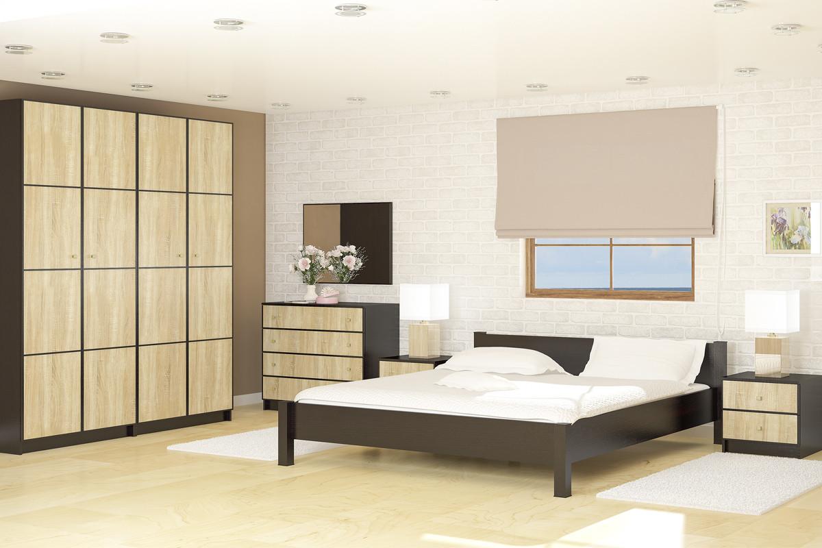 Комплект мебели для спальни Фантазия, Дуб Самоа, СВ Мебель(Россия)