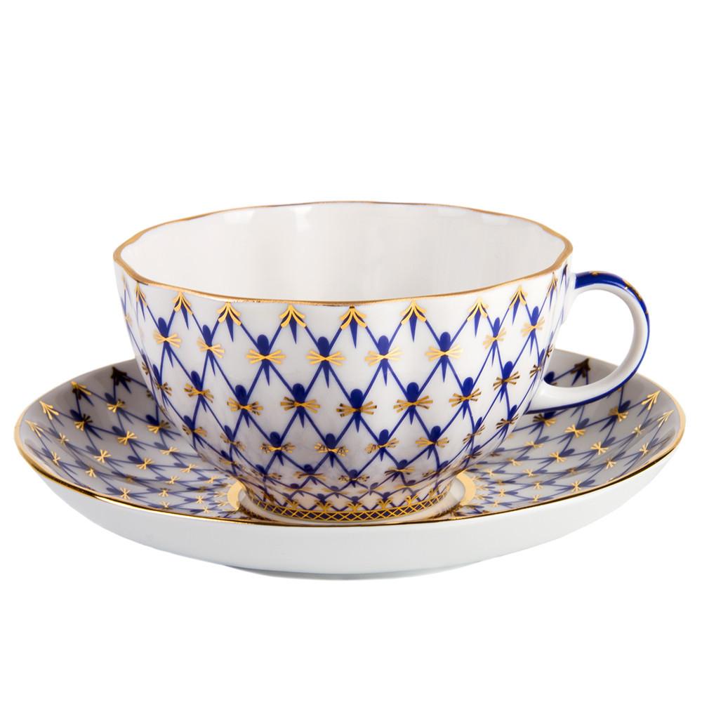 Чайная пара Сетка-модерн. Императорский фарфор, авторская работа