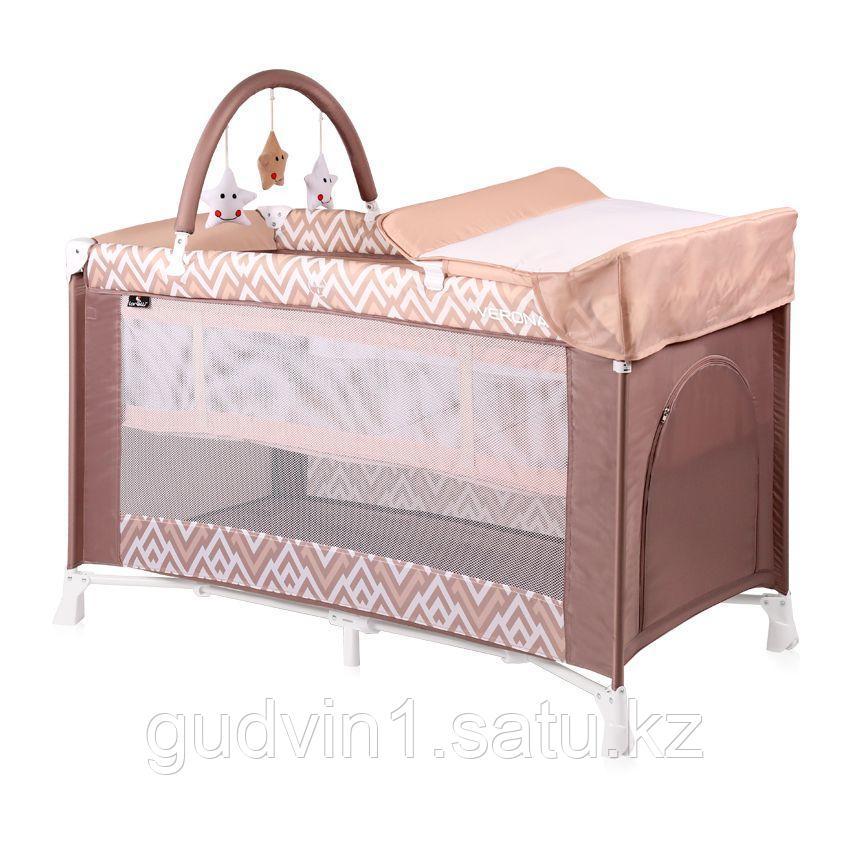 Детская кровать-манеж Bertoni VERONA 2 Plus Бежево-коричневый / Beige&Brown Lines 1940