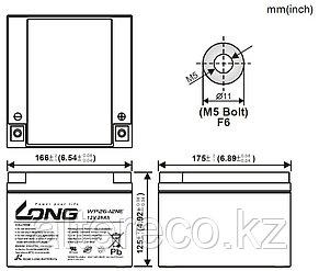 Тяговый аккумулятор LONG WP26-12NE (12В, 26Ач), фото 2