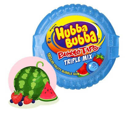 Жевательная резинка в рулетке  Хубба-Бубба (синяя) hubba bubba Тройной микс -лента  56,7 гр