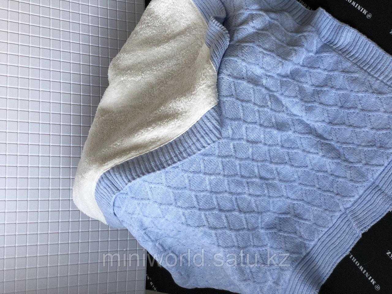 Тёплый плед на велсофте для малышей вязаный - фото 2