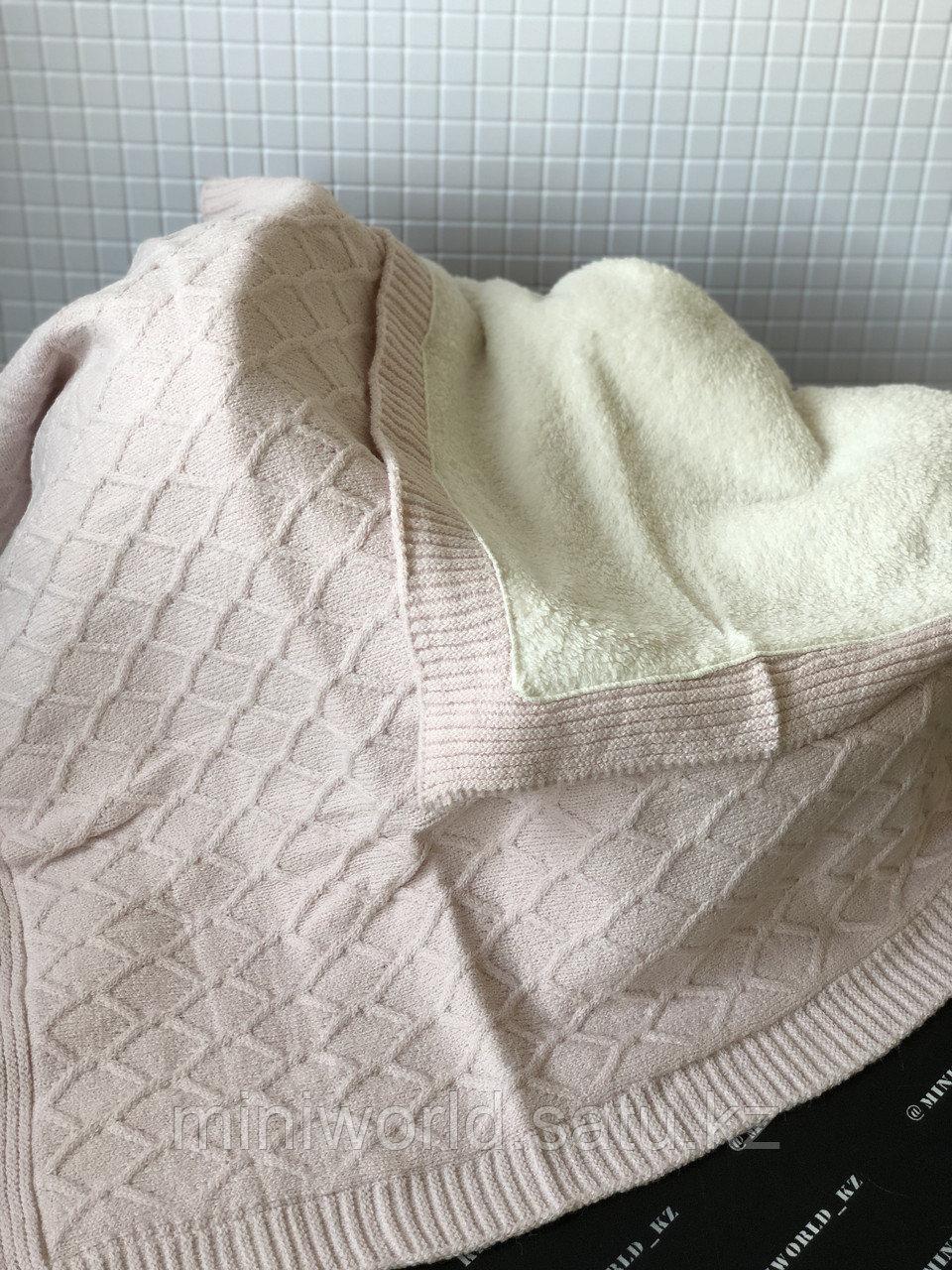 Тёплый плед на велсофте для малышей вязаный - фото 1