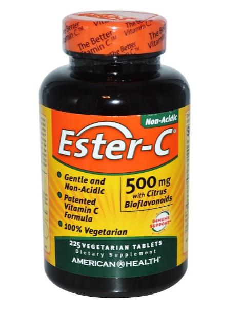 American Health, Ester-C, 500 мг, с цитрусовыми биофлавоноидами, 225 вегетарианских таблеток